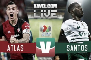 Resultado y goles del Atlas 3-2 Santos en Liga MX 2018