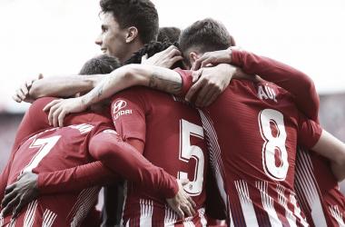Celebración del equipo en el primer gol. / Foto: Club Atlético de Madrid.