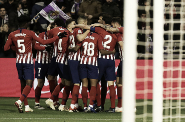 Piña del Atleti tras marcar el tercer gol. / Foto: Club Atlético de Madrid.