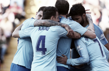 Celebración del gol. / Foto:Club Atlético de Madrid.