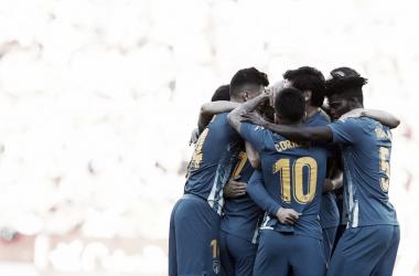 Celebración del equipo tras el gol. / Foto: Atlético de Madrid.