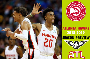 Atlanta Hawks forward John Collins (20) celebrates with teammate guard Trae Young (11) against the New York Knicks during an NBA Summer League game at the Thomas & Mack Center. |Mark J. Rebilas-USA TODAY Sports|
