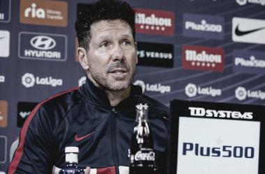 Diego Pablo Simeone en la rueda de prensa de hoy. / Fuente: Atlético de Madrid