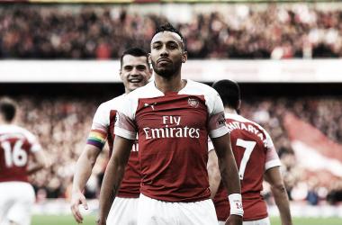 Aubameyang celebra uno de los goles | Fotografía: Arsenal