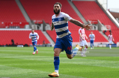 STOKE ON TRENT, ENGLAND - MAY 01: Charlie Austin of Queens Park Rangers celebrates after scoring their team's first goal during the Sky Bet Championship match between Stoke City and Queens Park Rangers at Bet365 Stadium on May 01, 2021 in Stoke on Trent, England. Sporting stadiums around the UK remain under strict restrictions due to the Coronavirus Pandemic as Government social distancing laws prohibit fans inside venues resulting in games being played behind closed doors. (Photo by Gareth Copley/Getty Images)