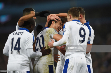 BIRMINGHAM, ENGLAND - JANUARY 16: Shinji Okazaki (C) of Leicester City celebrates scoring his team's first goal with his team mates during the Barclays Premier League match between Aston Villa and Leicester City at Villa Park on January 16, 2016 in Birmingham, England. (Photo by Laurence Griffiths/Getty Images)