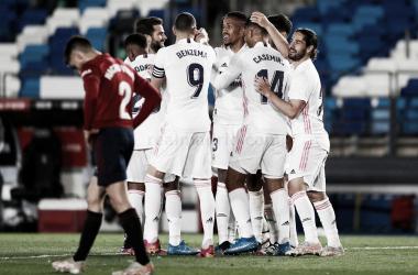 Los futbolistas blancos celebran el 1-0. Fuente: Real Madrid