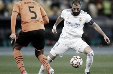 Benzema frente al Shakhtar. Fuente: Real Madrid