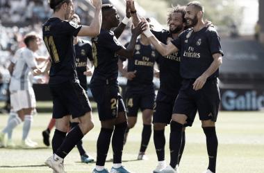 Los jugadores blancos celebran su primer tanto en La Liga / Foto: Real Madrid C.F
