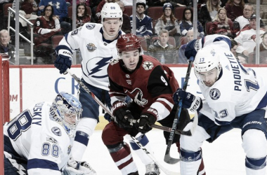 ClaytonKeller managed to score a goal in the loss to Tampa Bay, but it wasn't enough. (Photo: nhl.com)