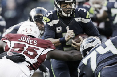 Arizona Cardinals' Chandler Jones (55) sacks Seattle Seahawks Russell Wilson during the first half at CenturyLink Field, Saturday, Dec. 24, 2016. |Source: AP Photo/John Froschauer|