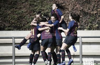 Foto de las jugadoras del Barça B celebrando un gol. FOTO: Noelia Déniz