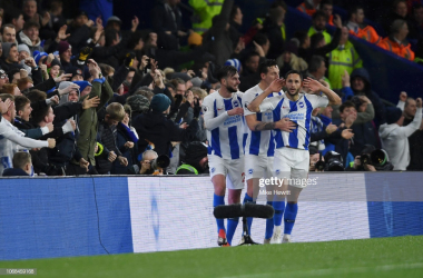 Florin Andone celebrates his goal against the Eagles in the reverse fixture. Photo - Getty Images.