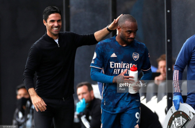 <div>Fulham v Arsenal - Premier League</div><div><br></div><div>LONDON, ENGLAND - SEPTEMBER 12: Mikel Arteta, Manager of Arsenal interacts with Alexandre Lacazette of Arsenal after he is subbed during the Premier League match between Fulham and Arsenal at Craven Cottage on September 12, 2020 in London, England. (Photo by Paul Childs - Pool/Getty Images)</div>