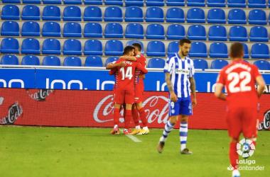 Celebración de unos de los tantos del Granada CF. Fuente: LaLiga