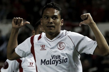 Could Sevilla hero Carlos Bacca move to Anfield? (Picture: The Telegraph)