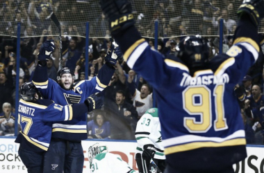David Backes #42 of the St. Louis Blues celebrates a goal against the Dallas Stars in Game Three of the Western Conference Second Round during the 2016 NHL Stanley Cup Playoffs at the Scottrade Center on May 3, 2016 in St. Louis, Missouri.(May 2, 201