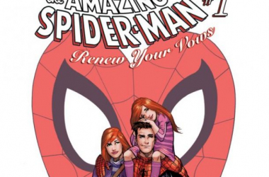 "Peter Parker, Mary Jane, and their daughter. Wait, what? image source ""marvel.com"""
