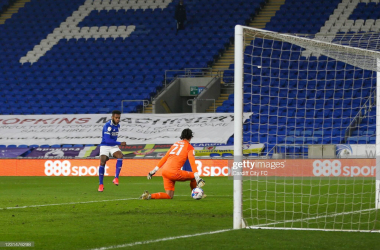 Leandro Bacuna scores the first goal for Cardiff City FC during the Sky Bet Championship match between Cardiff City and Derby County at Cardiff City Stadium on March 2, 2021 in Cardiff, Wales. (Photo by Cardiff City FC/Getty Images)