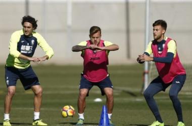 Baena es baja pero ha trabajado parcialmente con el grupo | Foto: Pepe Villoslada / Granada CF