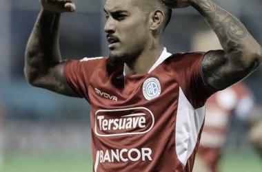 Adrián Balboa convirtió el único gol del partido a los 17 del complemento. Fuente (Prensa Belgrano)