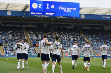 LEICESTER, ENGLAND - MAY 23: Gareth Bale of Tottenham Hotspur celebrates with teammate Sergio Reguilon after scoring his team's fourth goal during the Premier League match between Leicester City and Tottenham Hotspur at The King Power Stadium on May 23, 2021 in Leicester, England. A limited number of fans will be allowed into Premier League stadiums as Coronavirus restrictions begin to ease in the UK. (Photo by Shaun Botterill/Getty Images)