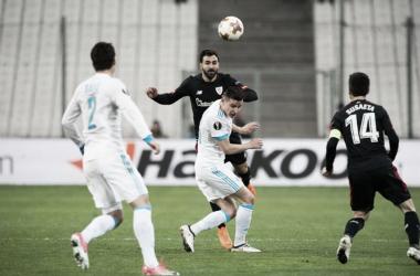 Balenziaga en el partido ante el Olympique de Marsella | Fotografía: Athletic Club