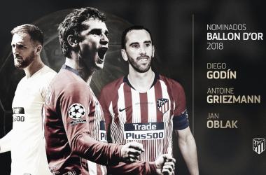 Los nominados rojiblancos que se postulan a ganar el Balón de Oro 2018 / Imagen: Club Atlético de Madrid