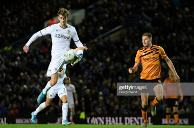 Patrick Bamford collects the ball during Leeds United's win over Hull City. Photo by George Wood/Getty Images.