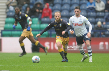 Sheffield Wednesday's Barry Bannan under pressure from Preston North End's Alan Browne during the Sky Bet Championship match between Preston North End and Sheffield Wednesday at Deepdale on April 27, 2019 in Preston, England. (Photo by Kevin Barnes - CameraSport via Getty Images)
