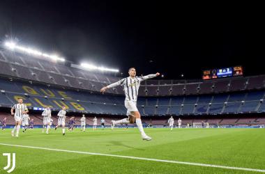 L'esultanza di Ronaldo dopo il momentaneo 0-1. | Foto: Twitter @juventusfc.