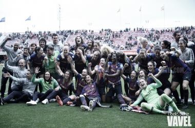 El FC Barcelona femenino celebrando su pase a la final de la Champions / Foto: Noelia Déniz (VAVEL.com)
