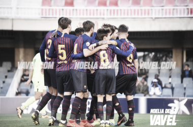 El Barça B celebra un gol en el Miniestadi FOTO: Noelia Déniz