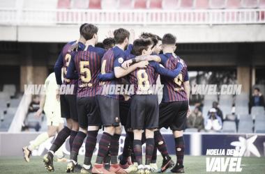 Los futbolistas azulgranas celebrando uno de los goles / Foto: Noelia Déniz (VAVEL.com)