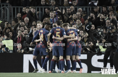 El Barceona celebra la victoria ante el Borussia Dortmund | Foto: Noelia Déniz - VAVEL