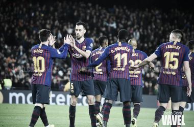 Messi celebrando un tanto junto a sus compañeros. FOTO: Noelia Déniz - VAVEL