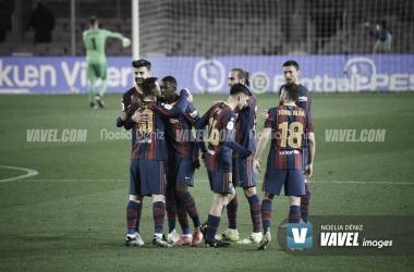 Los jugadores del Fútbol Club Barcelona celebrando un gol en la presente temporada | Foto de Noelia Déniz, VAVEL