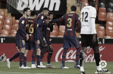 Victoria importante del Barcelona en Mestalla./ Foto: LaLiga Santander