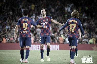 Busquets, Suárez y Griezmann 'tiran' del equipo   FOTO: Noelia Déniz - VAVEL