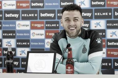 Keidi en la rueda de prensa. Fotografía: RCD Espanyol