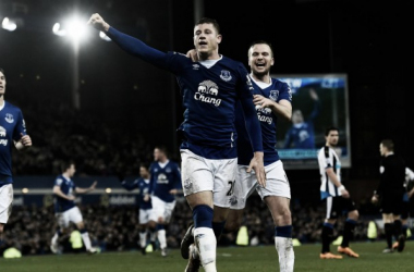 Ross Barkley celebrates one of his goals against Newcastle United last week which was Everton's first league win in six games. | Image: Sky Sports