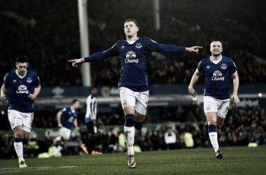 Barkley celebrates as Everton down the Mags. | Photo: Everton FC.