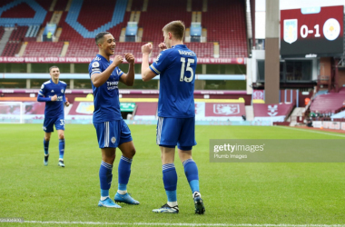 Harvey Barnes and Youri Tielemans celebrate after the former scored at Villa Park | Photo: Getty/ Plumb Images