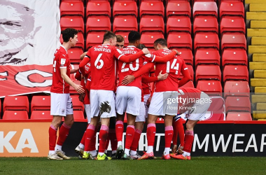 Barnsley celebrate Daryl Dike's goal against Middlesbrough. Photo: Ross Kinnaird/Getty Images.