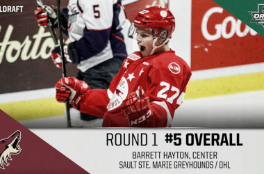 Arizona Coyotes surprised everyone by selecting center Barrett Hayton from the OHL. (Photo: top twitter.com)