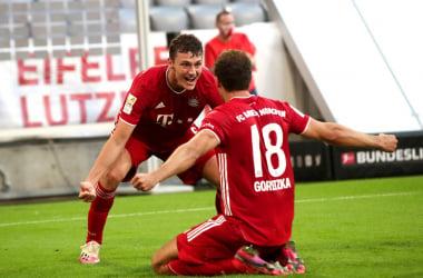 L'esultanza di Pavard e Goretzka per il 2-1. | Foto: Twitter @FCBayern