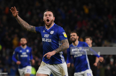 CARDIFF, WALES - JANUARY 28: Lee Tomlin during the Sky Bet Championship match between Cardiff City and West Bromwich Albion at Cardiff City Stadium on January 29, 2020 in Cardiff, Wales. (Photo by Cardiff City FC/Getty Images)