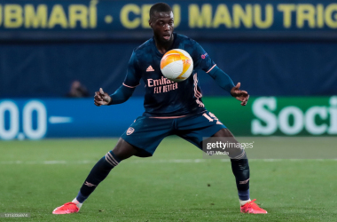 <div>Villareal CF v Arsenal - UEFA Europa League Semi Final Leg One</div><div><br></div><div>VILLARREAL, SPAIN - APRIL 29: Nicolas Pepe of Arsenal FC during the UEFA Europa League Semi-final First Leg match between Villareal CF and Arsenal at Estadio de la Ceramica on April 29, 2021 in Villarreal, Spain. Sporting stadiums around Europe remain under strict restrictions due to the Coronavirus Pandemic as Government social distancing laws prohibit fans inside venues resulting in games being played behind closed doors. (Photo by MB Media/Getty Images)</div>