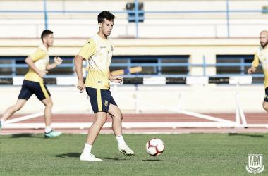 Borja Domínguez en un entrenamiento. AD Alcorcón