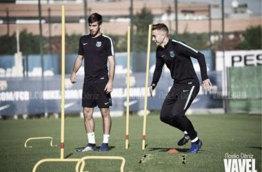 Oriol Busquets y Óscar Mingueza en un entrenamiento | Foto de Noelia Déniz, VAVEL
